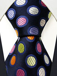 MXL5  Men's Neckties Navy Blue Multicolor Polka Dot 100% Silk Dress Casual For Men