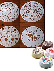 abordables -4 piezas redondas artesanal molde de pastel fondant que adorna la flor de corte corazón sugarcraft 20 * 20 * 0.12 cm