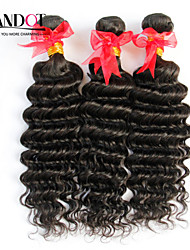 "3Pcs Lot 12""-30"" Unprocessed Raw Brazilian Deep Wave Curly Virgin Hair Wefts Natural Black Remy Human Hair Weave Bundles"