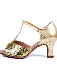 "Scarpe da ballo - Disponibile ""su misura"" - Donna - Latinoamericano / Salsa - Customized Heel - Satin - Argento / Oro"