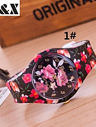 cheap -Women's Quartz Wrist Watch Hot Sale Silicone Band Flower Candy color Casual Fashion Multi-Colored