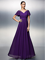 Sheath / Column V-neck Floor Length Chiffon Formal Evening Dress with Beading Criss Cross by TS Couture®