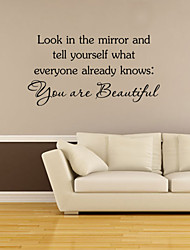 cheap -Wall Stickers Wall Decals Style You Are Beautiful English Words & Quotes PVC Wall Stickers