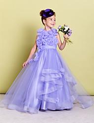 A-ligne de balayage / train de balle robe fille fleur - organza sans manches cravate avec fleur par lan ting bride®
