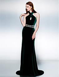Mermaid / Trumpet Halter Court Train Velvet Formal Evening Black Tie Gala Dress with Beading Sash / Ribbon by TS Couture®