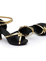 Women's Dance Shoes Satin Satin Latin / Dance Sneakers Heels Cuban Heel Performance / Indoor Black / Blue / Brown / Red Customizable