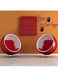 Liebe ist ein vierbeiniger Wort diy Zitat Wandtattoos zooyoo8066 Wohnzimmer abnehmbare Vinyl-Wandaufkleber Dekoration