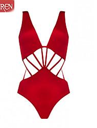 De las mujeres Bikini - Color Único/Bandage Push-Up/Sin Soporte/Sujetador Acolchado - Halter - Nailon/Otros
