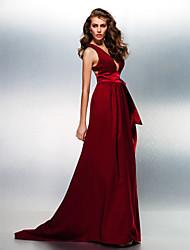 Linha A Decote V Cauda Escova Cetim Elástico Baile de Fim de Ano Evento Formal Vestido com Faixa / Fita de TS Couture®