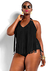 cheap -Women's Tassel Sexy Fat Push-up Tassels/Solid Straped One-piece Swimwear