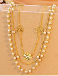 cheap -Women's Pearl Imitation Diamond Chain Necklace Layered Necklace  -  Multi Layer Gold Necklace For