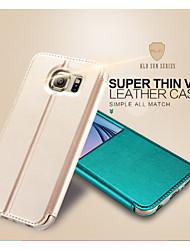 tanie -Kalaideng Kılıf Na Samsung Galaxy Samsung Galaxy Etui Z podpórką / Z okienkiem / Flip Pełne etui Solidne kolory Skóra PU na S6