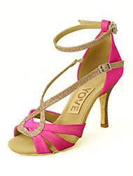 cheap -Women's Latin Shoes / Salsa Shoes Satin Sandal Buckle Customized Heel Customizable Dance Shoes Yellow / Fuchsia / Purple / Indoor / Leather / Practice / Professional