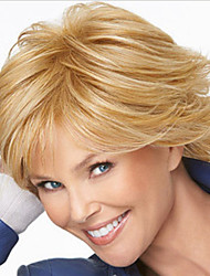 cheap -Europe And The United States  Sell Like Hot  Cakes Pale Golden Highlights The Middle-Aged Short Straight Hair Wig