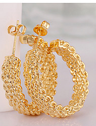 cheap -Hoop Earrings Vintage Cute Party Work Fashion Gold Plated Circle Jewelry