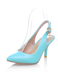 cheap -Women's Shoes Patent Leather Spring / Summer Comfort Heels Walking Shoes Kitten Heel Pointed Toe Buckle Green / Blue / Pink / Party & Evening / Party & Evening