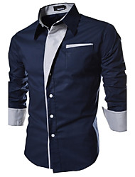 cheap -Men's Daily Casual Spring Fall Plus Size Shirt,Color Block Classic Collar Long Sleeves Cotton Polyester