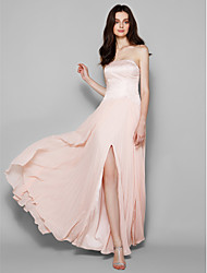 cheap -Sheath / Column Strapless Floor Length Chiffon Lace Bridesmaid Dress with Lace Split Front by LAN TING BRIDE®