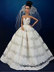 tanie Ubranka dla lalek Barbie-Ślub Sukienki Dla Lalka Barbie Koronka Organza Ubierać Dla Dziewczyny Lalka Zabawka