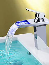 cheap -Contemporary Centerset Waterfall LED Ceramic Valve One Hole Single Handle One Hole Chrome , Bathroom Sink Faucet