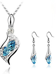 cheap -Women's Crystal Jewelry Set - Crystal Fashion Include Green / Blue / Royal Blue For Party Daily / Earrings / Necklace