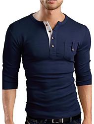 Informell Rund - Langarm - MEN - T-Shirts ( Baumwoll Mischung )