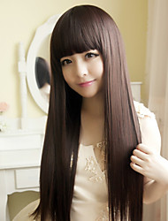 cheap -Japan and South Korea Fashion Brown Qi Liu Hai Long Straight Hair Wig