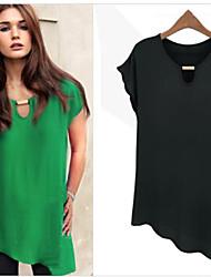Informell Kurzarm - FRAUEN - T-Shirts ( Chiffon )