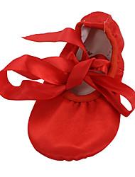 baratos -Mulheres Balé / Sapatilhas de Balé / Ioga Cetim Sapatilha Cadarço de Borracha Sem Salto Não Personalizável Sapatos de Dança Vermelho /