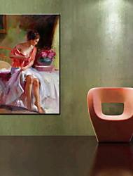 abordables -pinturas al óleo de un panel de la gente moderna lienzo pintado a mano listo para colgar
