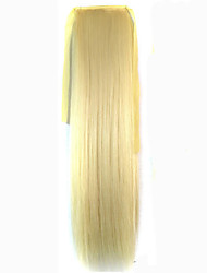 abordables -Blond Platine (#613) Synthetic Queue de cheval Droit (Straight) Micro Ring Hair Extensions Queue de cheval 22inch gramme Moyen (90g-120g)
