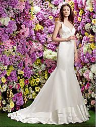 Sereia Cauda Corte Organza Cetim Vestido de casamento com Apliques de LAN TING BRIDE®