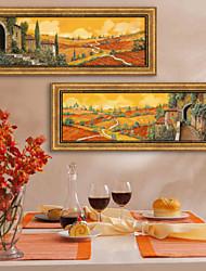Paisagem Quadros Emoldurados / Conjunto Emoldurado Wall Art,PVC Beje Sem Cartolina de Passepartout com frame Wall Art