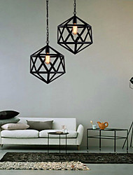 cheap -Retro industrial restaurant bar hotel lamp droplight hexahedron artistic originality, wrought iron Pendant Lights