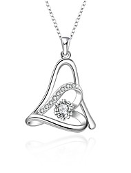 cheap -Cremation jewelry 925 sterling silver Heart with Zircon Pendant Necklace for Women