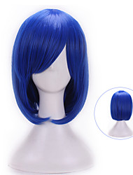 cheap -32 Cm Harajuku Cosplay Anime Wig Young Heat Resistant Synthetic Hair Dark Blue Wig Party Synthetic Wigs With Bangs