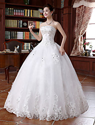 cheap -Ball Gown Strapless Floor Length Beaded Lace Custom Wedding Dresses with Beading Appliques by LAN TING BRIDE®