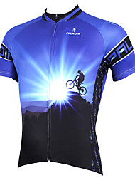 cheap -ILPALADINO Men's Short Sleeve Cycling Jersey - Blue Bike Jersey, Quick Dry, Ultraviolet Resistant, Breathable Polyester