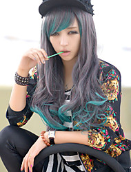 The New Cos Anime Characters Long Curly Wig Blue Gradient Character Hair Wig