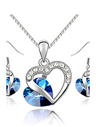 T&C Women's 18K White Gold Plated The Heart of Ocean Austrian Blue Crystal Pendant Necklace  Earrings Jewelry Sets