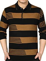 Masculino Camisa Casual / Escritório / Formal Listrado / Xadrez Manga Comprida Acrílico / Poliéster / LycraPreto / Azul / Marrom /