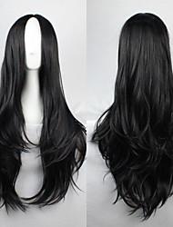 billige -Syntetiske parykker Bølget Assymetrisk frisure Syntetisk hår Natural Hairline Sort Paryk Dame Lang Lågløs