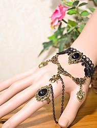 abordables -pulsera vintage corazón araña con anillo estilo femenino clásico
