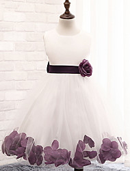cheap -A-Line Knee Length Flower Girl Dress - Cotton Polyester Lace Tulle Sleeveless Jewel Neck with Sash / Ribbon Pleats Flower by YDN