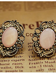 cheap -Retro Court Style Hollow Lace Precious Stone Stud Earrings Elegant Style