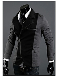 Men's Work / Casual/Daily Street chic Spring / Fall Blazer,Color Block Notch Lapel Long Sleeve Black / Gray Cotton / Polyester / Spandex