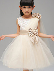 cheap -A-Line Ball Gown Knee Length Flower Girl Dress - Cotton Sleeveless Jewel Neck with Ribbon by YDN