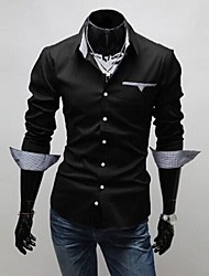 Men's Striped / Solid Casual / Work / Formal Shirt,Cotton Long Sleeve Black / Red / White