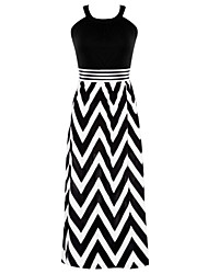 cheap -Women's Holiday Sexy Swing Dress,Striped Strap Maxi Sleeveless Polyester Spandex Summer Mid Rise Micro-elastic Thin