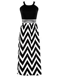 baratos -Mulheres Feriado balanço Vestido Listrado Com Alças Longo Preto & Branco